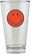 Zak Designs 6662-1401 Smiley Glas, hoch, 330 ml, Korallenrot/Weiß
