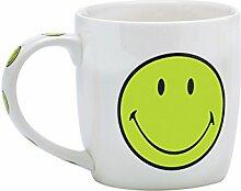 Zak designs 6662-1594 Smiley Porzellanbecher, 35 cl in Geschenkbox, grün/weiss