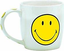 Zak designs 6662-1595 Smiley Tasse in Geschenkbox, Porzellan, 35 cl, Weiß/Gelb