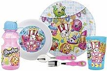 zak. designs Mealtime Set, Teller, Schale, Becher, Wasser Flasche, Gabel & Löffel mit den Charakteren aus Shopkins, BPA frei, 6-tlg. Set von ZAK DESIGNS
