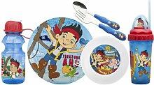 zak. designs Mealtime Set, Teller, Schale, Becher, Wasser Flasche, Gabel und Löffel, BPA frei, 6-teiliges Set Jake and the Never Land Pirates