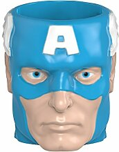 Zak! Designs Sculpted Ceramic Mug in Shape of Retro Captain America, BPA-free, Marvel Comics Collectible by Zak Designs