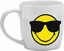 Zak Designs Smiley Emoticon Sonnenbrille Porzellan Kaffeetasse, weiss