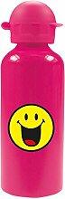 zakdesigns 6662-M922 Trinkflasche Smiley 600 ml, Aluminium, fuchsia, 7 x 7 x 22 cm