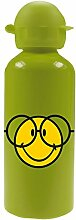 zakdesigns 6662-M923 Trinkflasche Smiley 600 ml, Aluminium, grün, 7 x 7 x 22 cm