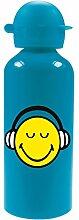 zakdesigns 6662-M924 Trinkflasche Smiley 600 ml, Aluminium, blau, 7 x 7 x 22 cm