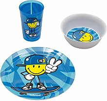 "zakdesigns 6705-0391 Essgeschirr ""Smiley Kid"", 3-er Set, Melamin, blau"