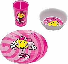 "zakdesigns 6707-0391 Essgeschirr ""Smiley Kid"", 3-er Set, Melamin, rosa"