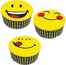 zakdesigns 6727-004 Dosen-Set Smiley 3 Stück, Weißblech, Mehrfarbig, 19.7 x 19.7 x 10 cm