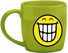 zakdesigns 6727-8512 Tee-Tasse Smiley - Zähne 350 ml, Porzellan, grün, 8.5 x 12.5 x 10 cm