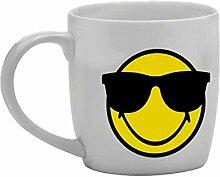 zakdesigns 6727-8516 Tee-Tasse Smiley - Sonnenbrille 350 ml, Porzellan, weiß, 8.5 x 12.5 x 10 cm