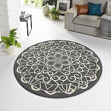 Zala Living ø140 Designer Velours Teppich Mandala