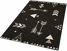 Zala Living Arrows Barney Kinder-/Spielteppich, Polypropylen, Schwarz, 170 x 120 x 0.4 cm