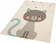 Zala Living Cat Alex Kinder-/Spielteppich, Polypropylen, Creme, 170 x 120 x 0.8 cm