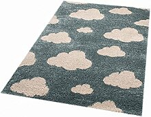 Zala Living Clouds Louis Kinder-/Spielteppich, Polypropylen, Blue, 170 x 120 x 3.5 cm