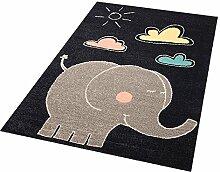 Zala Living Elephant Jumbo Kinder-/Spielteppich, Polypropylen, Schwarz/Grau, 170 x 120 x 0.8 cm