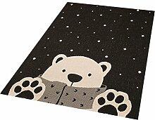 Zala Living Icebear Stan Kinder-/Spielteppich, Polypropylen, Schwarz, 170 x 120 x 0.4 cm