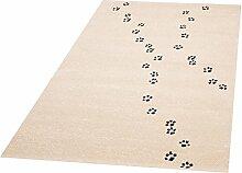 Zala Living Paw Prints Ted Kinder-/Spielteppich, Polypropylen, Creme Schwarz, 170 x 120 x 0.8 cm