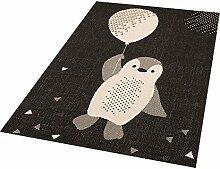 Zala Living Penguin Rico Kinder-/Spielteppich, Polypropylen, Schwarz, 170 x 120 x 0.4 cm