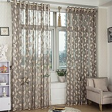 ZALAGO Blatt Schlaufenschal Schlaufengardine-Dekoschal-Gardine Vorhang 100*250 CM(B X H),Grau