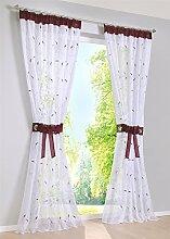 ZALAGO Blatt Vorhang Schlaufenschal vorhang Fenster-Screening Gardinen Lila B 140x H 245 CM