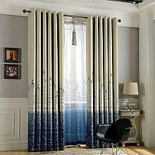 ZALAGO Blickdicht Gardinen Schlaufenschal Schlaufengardine-Dekoschal-Vorhang100*250 CM(B X H),Blau-Vorhang