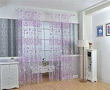 ZALAGO Blume Schlaufenschal suessen vorhang Fenster-Screening Lila,B 100 * H 200cm