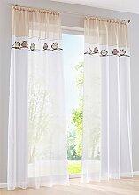 ZALAGO Eule Schlaufenschal Vorhang Fenster-Screening Gardinen Hellbraun B 140x H 245 CM