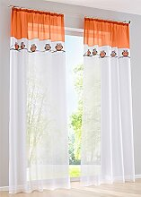 ZALAGO Eule Schlaufenschal Vorhang Fenster-Screening Gardinen Orange B 140x H 245 CM