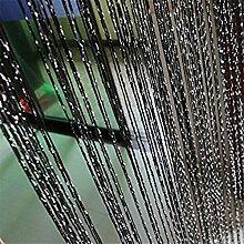 ZALAGO Fadengardine Fadenvorhang Gardine Tuervorhang Vorhang 100*200cm(B*H) Schwarz