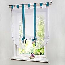 ZALAGO Fenster Raffrollo Gardinen Vorhang Raffgardine Blau Laessig 100x140cm