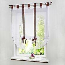 ZALAGO Fenster Raffrollo Gardinen Vorhang Raffgardine Kaffeebraun Laessig 100x140cm