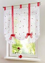 ZALAGO Fenster Raffrollo Gardinen Vorhang Raffgardine Rot Laessig 80x140cm
