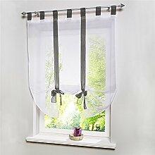 ZALAGO Fenster Raffrollo Gardinen Vorhang Raffgardine Seideband Grau Laessig 100x140cm