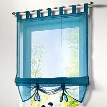 ZALAGO Raffrollo Schlaufen Gardinen Raffgardinen Vorhang Schlaufenschal Blau,B 120x H 155CM