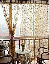 ZALAGO Schlaufenschal Dekoschal Fenster Schlaufen-Vorhang Raffgardine B 140 * H 245CM,Braun
