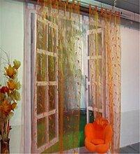 ZALAGO Schlaufenschal Dekoschal Fenster Schlaufen-Vorhang Raffgardine B 140 * H 245CM,Orange