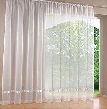 ZALAGO Schlaufenschal Fenster Dekoschal Schlaufen-Vorhang Raffgardine Weiss,B 100 * H 300CM