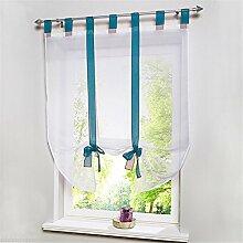 ZALAGO Schlaufenschal Fenster Raffrollo Gardinen Vorhang Raffgardine Laessig Voile Farben Blau, B 60x H 140CM