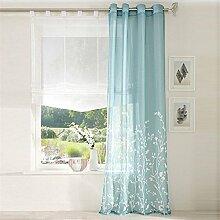 ZALAGO Schlaufenschal Fenster Stoffdruck Blumen Gardine Vorhang Wohnzimmer Deko Blau,B 140x H 250CM
