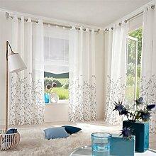 ZALAGO Schlaufenschal Fenster Stoffdruck Blumen Gardine Vorhang Wohnzimmer Deko Weiss,B 140x H 225CM