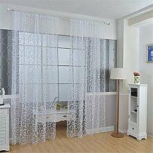 ZALAGO Schlaufenschal Schlaufengardine-Dekoschal-Vorhang Offsetdruck B 100* H 200 CM,Weiss