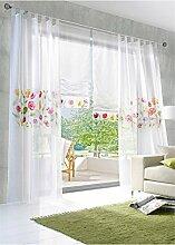 ZALAGO Schlaufenschal Transparent Gardine Blume Vorhang Dekoschal,B 150*H 145CM