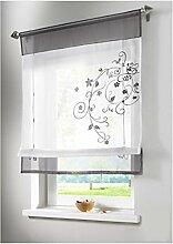ZALAGO Vorhang Gardine Fenster Raffrollo Raffgardine Blume Sticken Grau,80x100cm