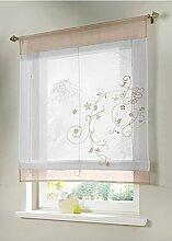 ZALAGO Vorhang Gardine Fenster Raffrollo Raffgardine Blume Sticken StilA,100x140cm