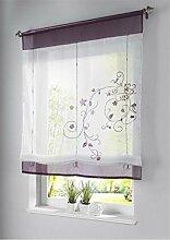 ZALAGO Vorhang Gardine Fenster Raffrollo Raffgardine Blume Sticken Lila,100x140cm