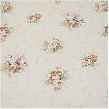 Zambaiti Tapete–Blumen Tapete Vintage mit Blumen und Stickerei shabby in Pastelltönen Rosa Hellblau Koralle grün z4129Satin Flowers