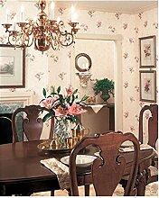 Zambaiti Tapete–Blumen Tapete Vintage mit Blumendruck A Relief in Satin Rosa und Koralle auf Boden Effekt Stoff mattglänzend klar in Vinyl waschbar z4137Satin Flowers