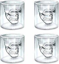 zanasta (4 Stück) Totenkopf Glas (150ml) Schädel