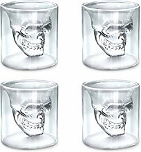 zanasta (4 Stück) Totenkopf Glas (25ml) Schädel